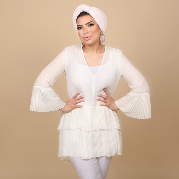 Rouen Bell Sleeve Dress in White