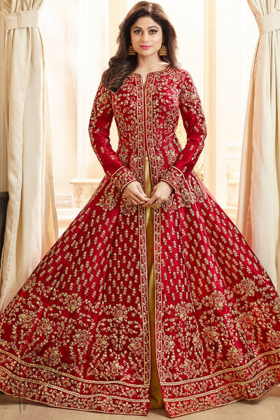 Red and Gold Mulberry Silk Party Wear Suit with Skirt