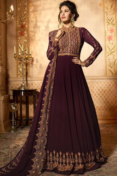 Wine Georgette Floor Length Anarkali Suit