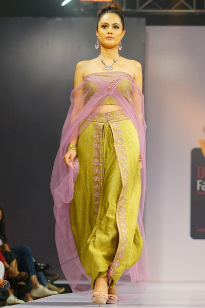 Olive Green and Purple Linen Satin Dhoti with Tube Top and Attached Dupatta