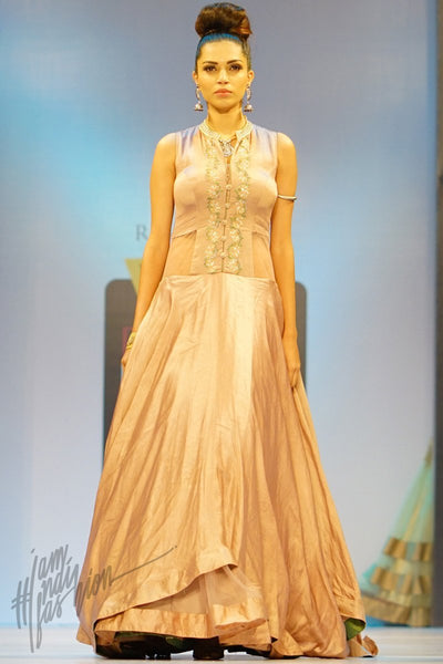 Rosy Brown Linen Satin and Net Asymmetrical Layered Gown