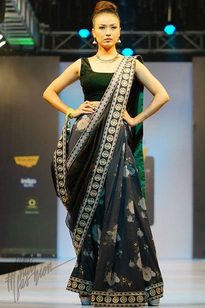 Black and Bottle Green Velvet and Organza Silk Ready to Wear Saree