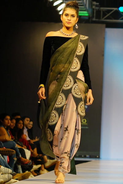 Black Peach and Bottle Green Velvet and Organza Silk Saree with Dhoti Pants