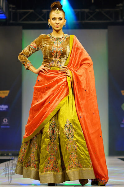 Olive Green Peach and Amber Brown Velvet and Raw Silk Lehenga Set