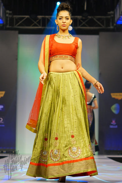 Pale Green and Red Linen Satin Lehenga Set