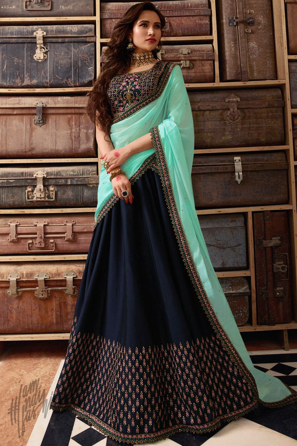 Navy Blue and Firozi Georgette Silk Lehenga Set with Jacket and Pants