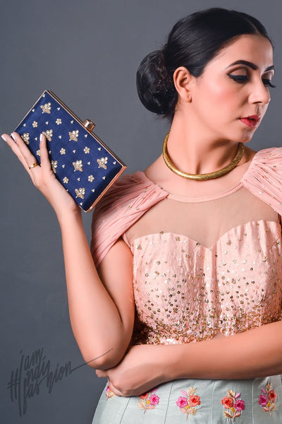 Navy Blue Hand Embroidered Box Clutch by Parchi Design Studio