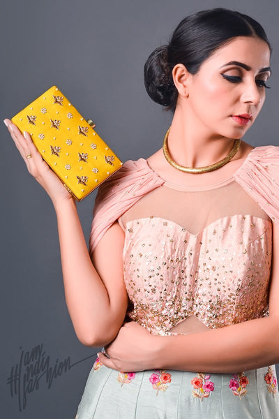 Fanta Yellow Hand Embroidered Box Clutch by Parchi Design Studio