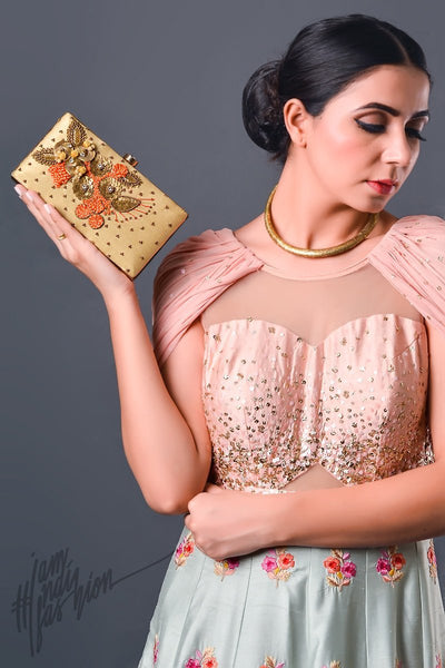Cream Floral Motif Hand Embroidered Box Clutch by Parchi Design Studio