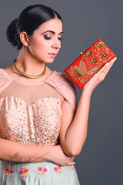 Red Sparrow Motif Hand Embroidered Box Clutch by Parchi Design Studio