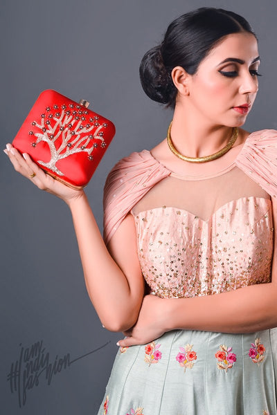 Red Tree Motif Hand Embroidered Box Clutch by Parchi Design Studio