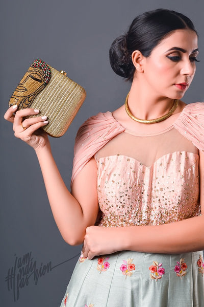 Beige Buddha Motif Hand Embroidered Box Clutch by Parchi Design Studio