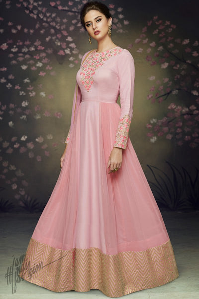 Pink Satin Silk and Net Party Wear Gown