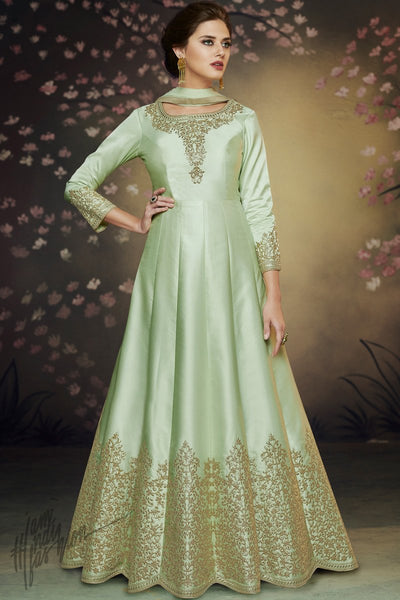 Pista Green Satin Silk Party Wear Gown
