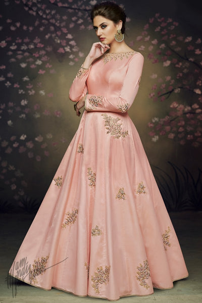Peach Satin Silk Party Wear Gown