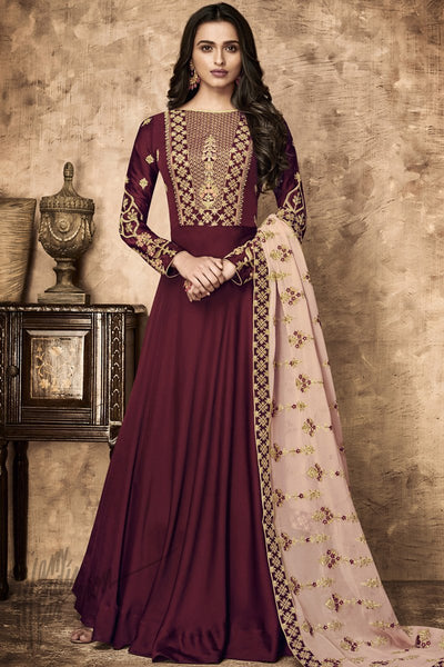Wine and Light Pink Georgette and Satin Party Wear Suit
