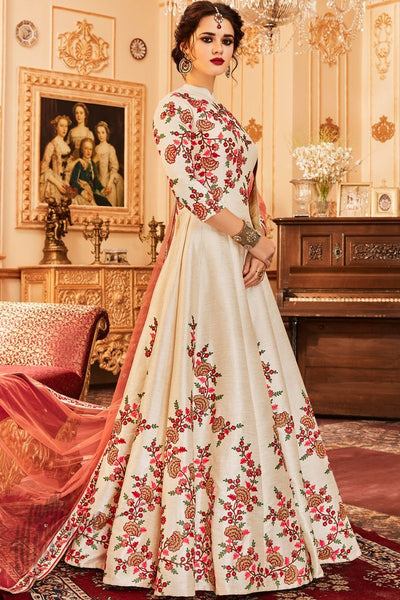 Indi Fashion White Taffeta Silk Floor Length Anarkali Suit