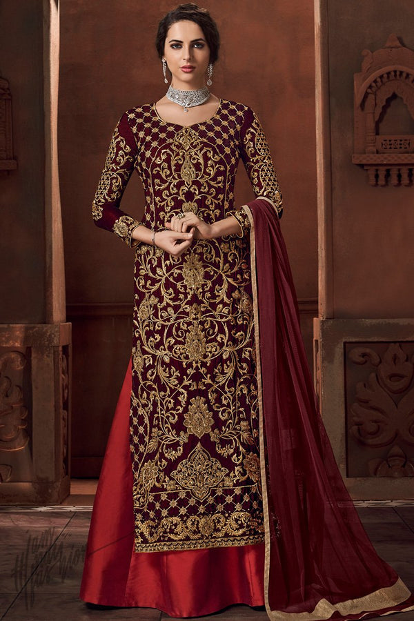 Wine and Red Velvet and Satin Lehenga Style Suit