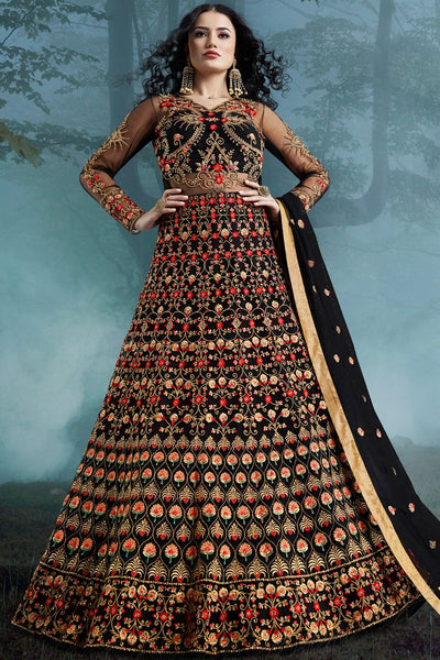 Black Net and Bangalori Silk Wedding Gown