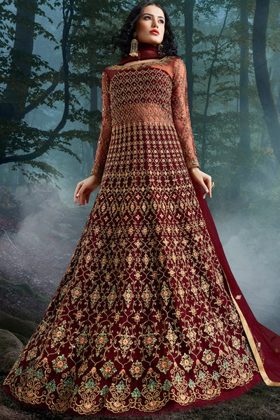 Maroon Net and Bangalori Silk Wedding Gown