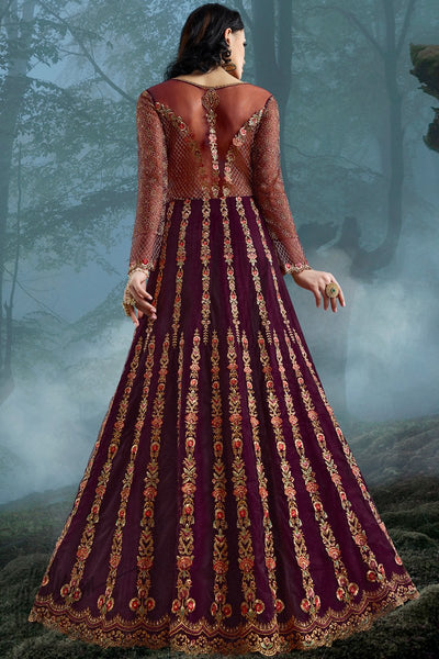 Wine Net and Bangalori Silk Wedding Gown
