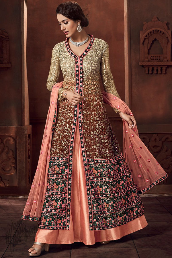 Dual Tone Brown and Peach Heavy Net and Satin Lehenga Style Suit