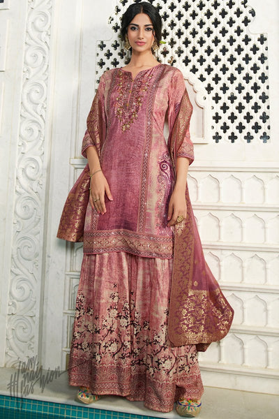 Onion Pink Digital Printed Palazzo Suit