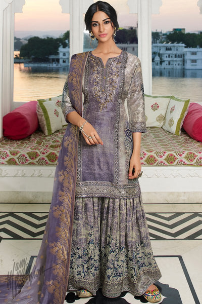 Gray and Purple Digital Printed Palazzo Suit