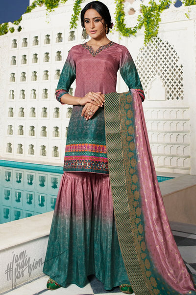 Pink and Green Digital Printed Palazzo Suit