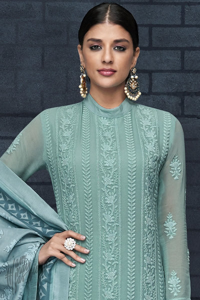 Teal Faux Georgette Chicken Straight Suit