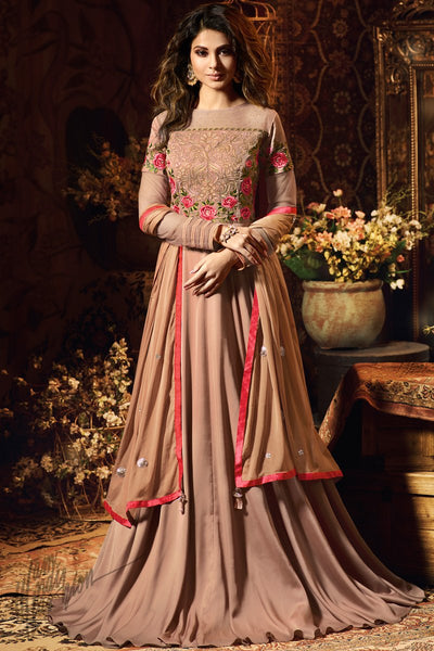 Old Rose Satin Silk Party Wear Gown