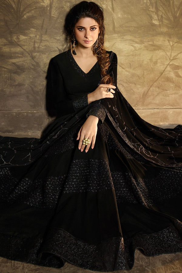 Black Georgette Party Wear Gown