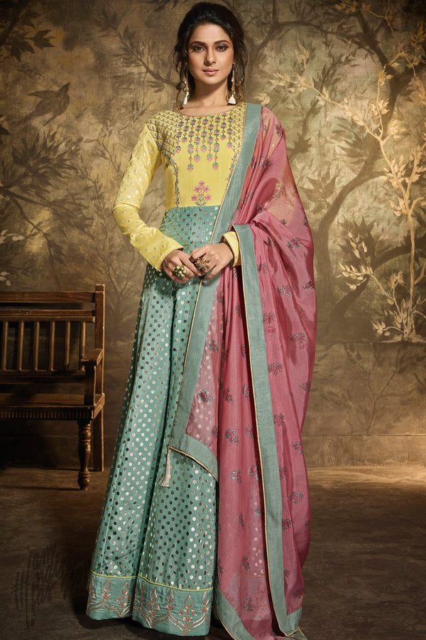 Yellow Pista and Onion Pink Silk Party Wear Gown
