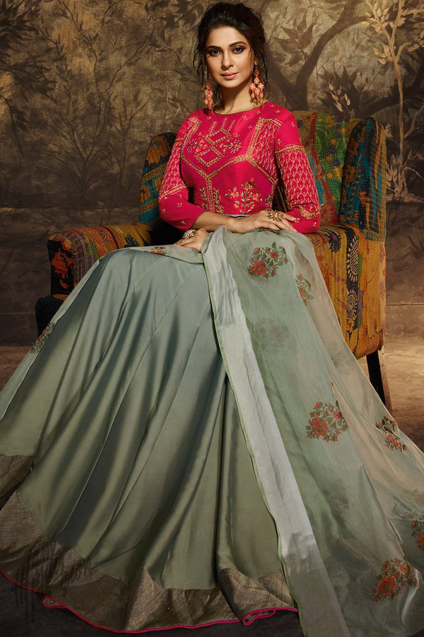 Red and Grayish Green Silk and Georgette Anarklai Gown