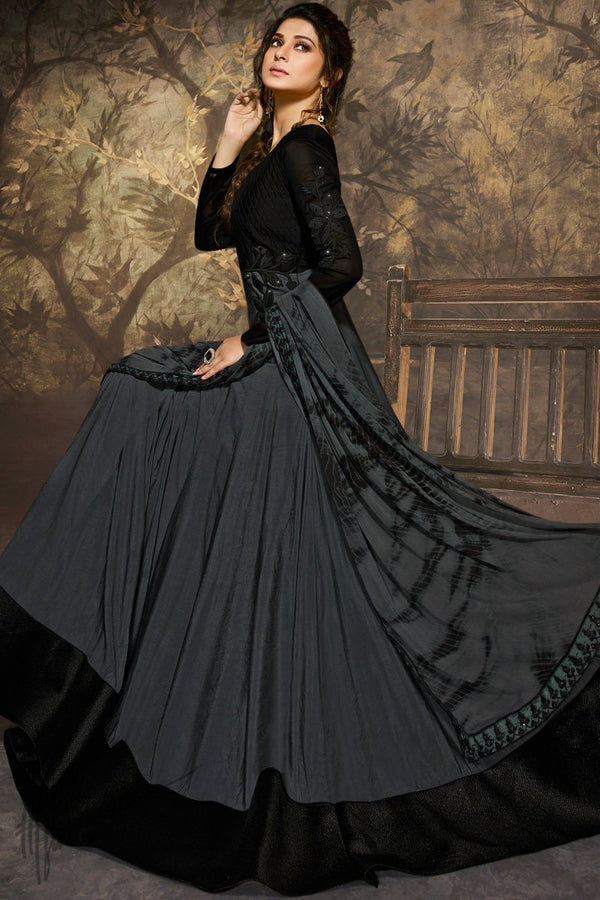 Black and Gray Silk and Georgette Anarklai Gown