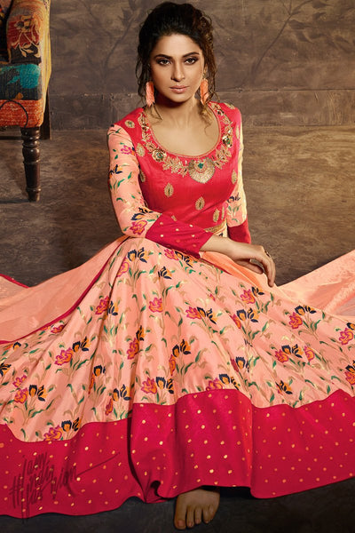 Magenta and Baby Pink Silk Anarklai Gown