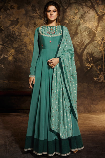 Teal Silk and Georgette Anarklai Gown