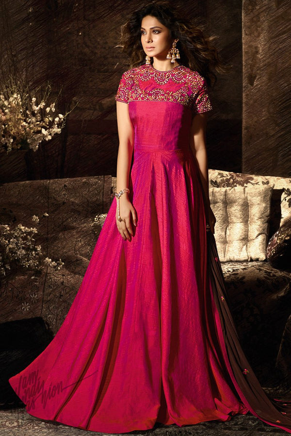 Hot Pink Dual Tone Banarasi Silk Anarkali Gown