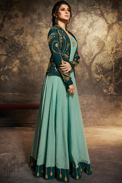 Bottle Green and Tiffany Blue Silk Jacket Style Gown