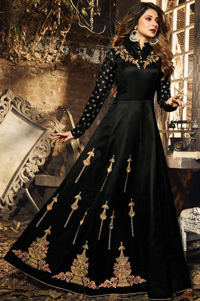 Black Silky Georgette Anarkali Gown