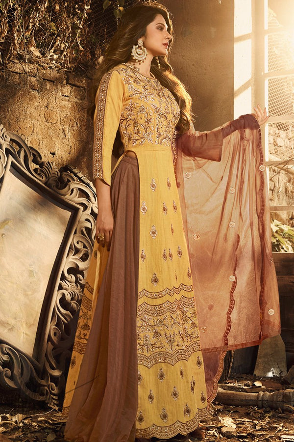 Honey Yellow Pure Silk Lehenga Style Suit