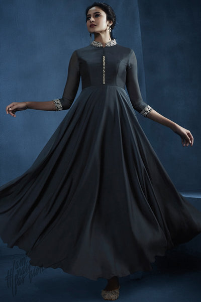 Midnight Blue Georgette Kalidaar Gown