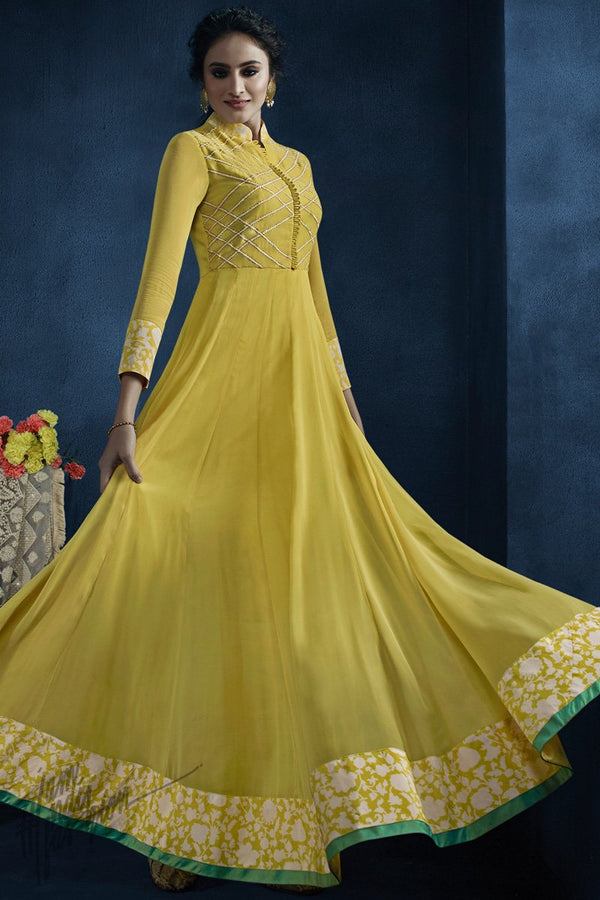 Pastel Yellow Georgette Kalidaar Gown