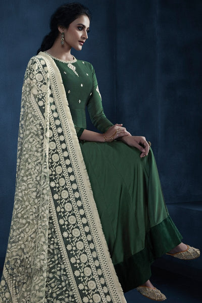 Bottle Green Georgette Kalidaar Gown
