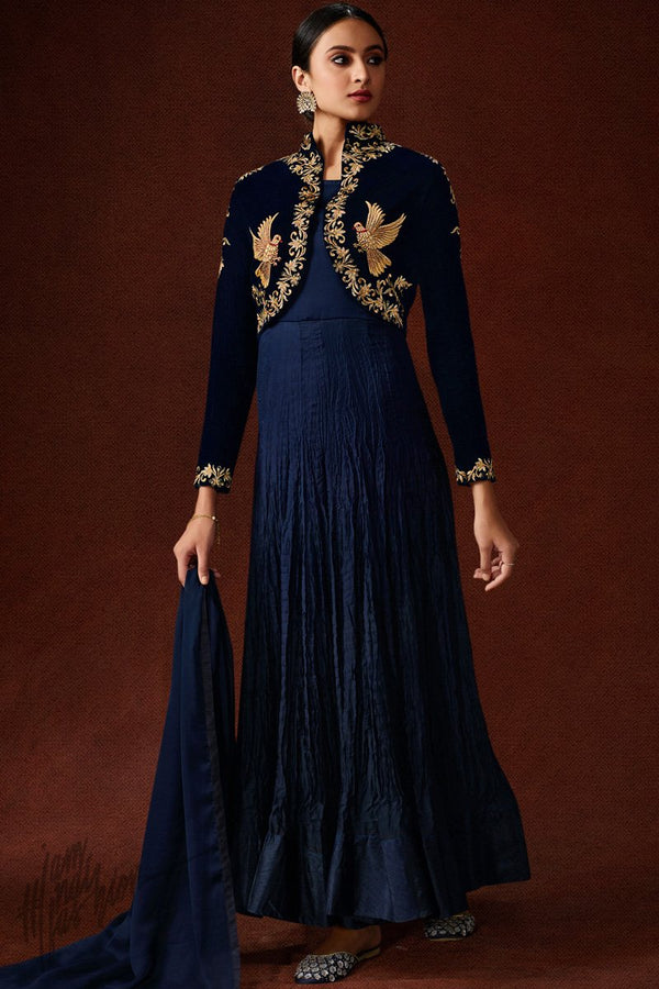 Navy Blue Velvet and Georgette Jacket Style Gown
