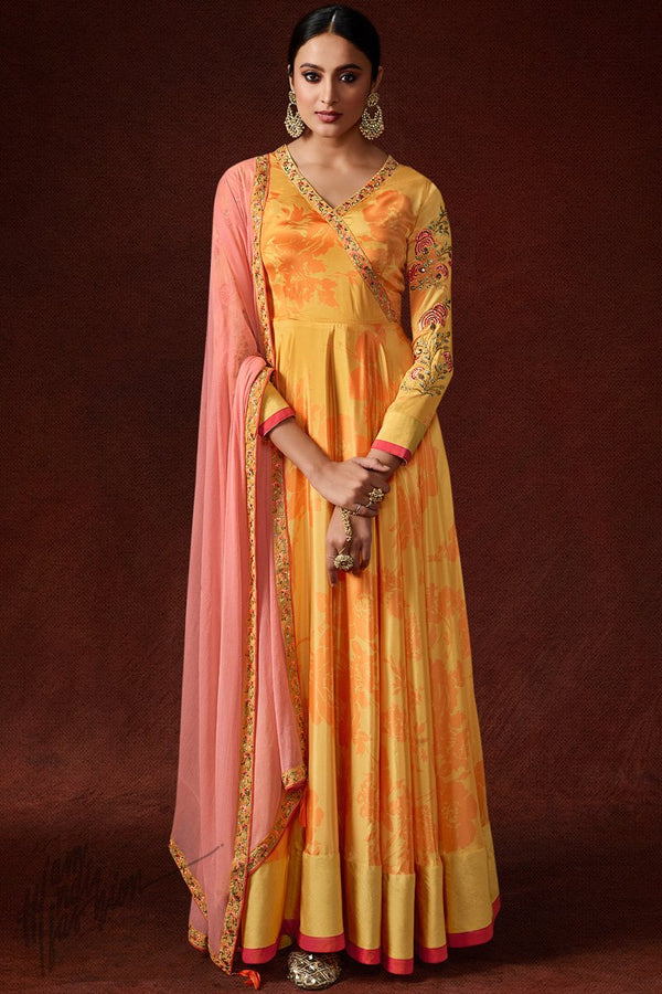 Honey Orange Silky Crepe Gown