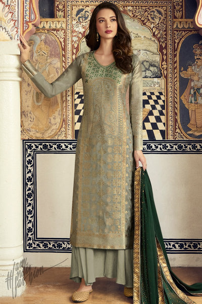 Sage and Forest Green Dola Silk Palazzo Suit