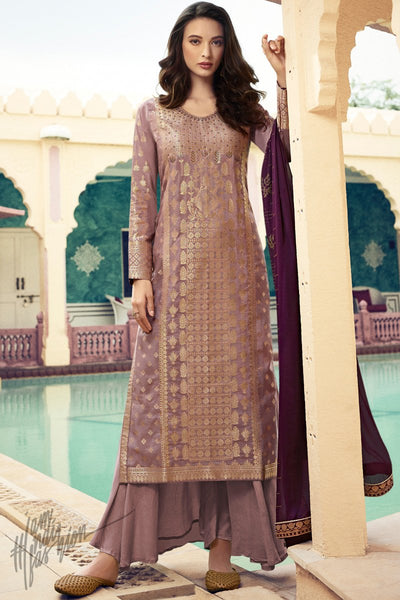 Onion Pink and Jam Purple Dola Silk Palazzo Suit