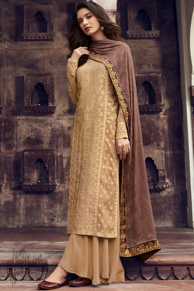 Pale Gold and Mauve Dola Silk Palazzo Suit