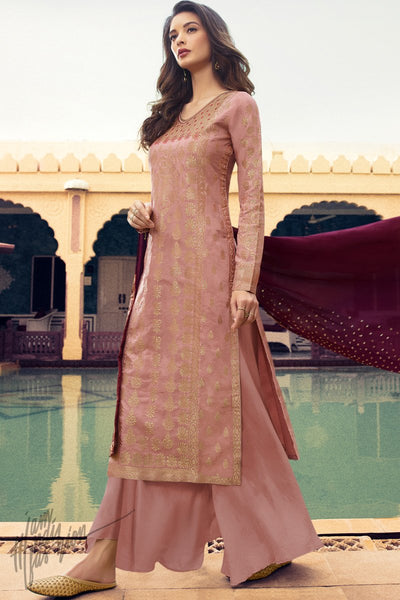 Pink and Wine Dola Silk Palazzo Suit